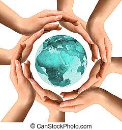 manos, tierra, circundante