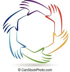 manos, trabajo en equipo, logotipo, identidad, unidad