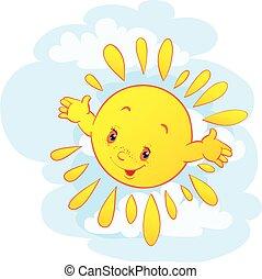 manos, vector, cielo, sol, ilustración, carácter, azul