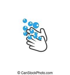 manos, vector, plantilla, lavado, diseño, aislado, icono