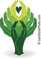 Manos verdes de logo