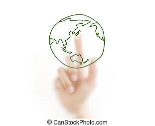 Manos y tierra. Simbolo de protección ambiental