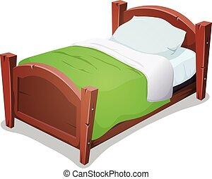 manta, madera, verde, cama