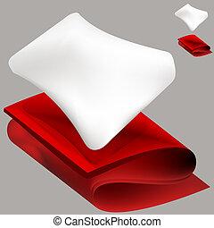 manta, suave, almohada, rojo