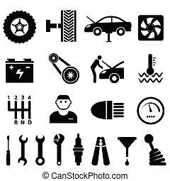Mantenimiento de autos y iconos de reparación