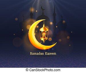 manuscrito, noche, cubierta, arch., dibujado, fondo., saludo, mezquita, diseño, tarjeta, card., vista, ramadan, árabe
