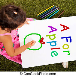manzana, alfabeto, escritura, aprendizaje, niña, exposiciones, niño