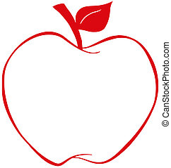 Manzana con esbozo rojo
