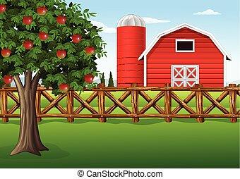 Manzana en la granja