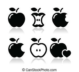Manzana, núcleo de manzana, iconos mordidos