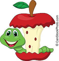 manzana que come, gusano, caricatura, rojo