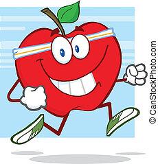 Manzana roja sana corriendo