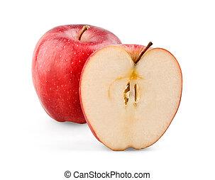 Manzana roja y rebanada