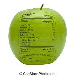Manzana verde con hechos de nutrición