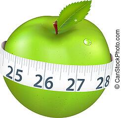 manzana verde, medida