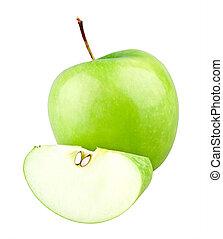 Manzana verde y rebanada