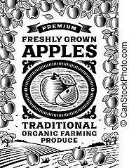Manzanas retro afiches en blanco y negro