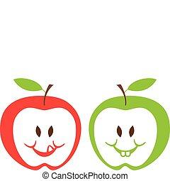 Manzanas rojas y verdes, vector
