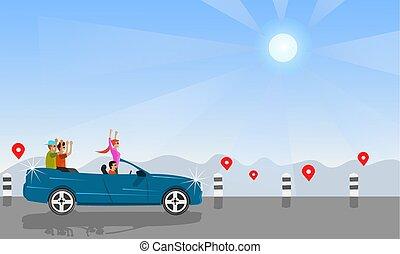 map., sol, ir, sentarse, plano de fondo, montañas, turistas, convertible, cuatro