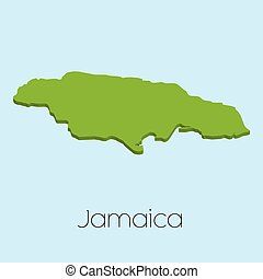 Mapa 3D en agua azul fondo de Jamaica