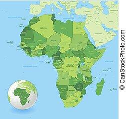 Mapa africa verde de alto detalle