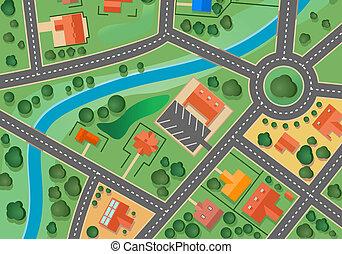 mapa, aldea, suburbio