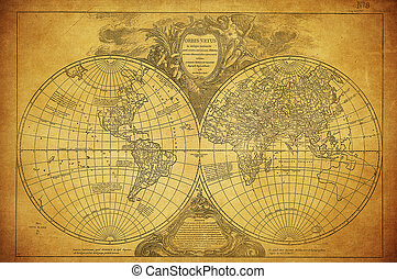 Mapa antigua del mundo 1752