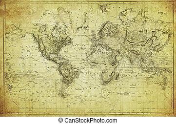Mapa antigua del mundo 1831