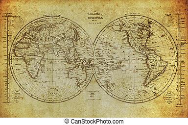 Mapa antigua del mundo 1839