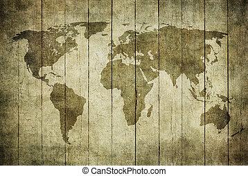 Mapa antigua del mundo sobre fondo de madera