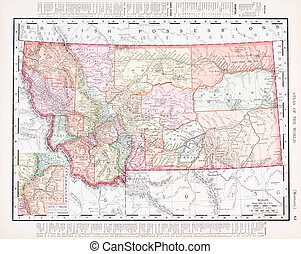 mapa antiguo, unido, color, vendimia, estados, montana