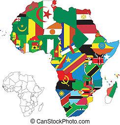 mapa, bandera, áfrica, continente