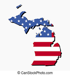 mapa, bandera de michigan
