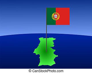 mapa, bandera, portugal