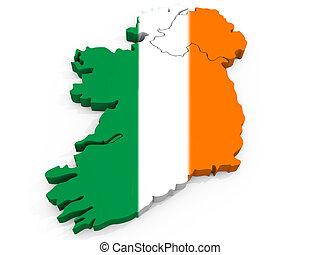 mapa, bandera, república, irlanda, 3d