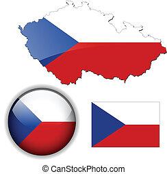 mapa, bandera, república, lustre, checo