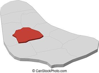 Mapa - barbados, santo Thomas - 3D-Illustración