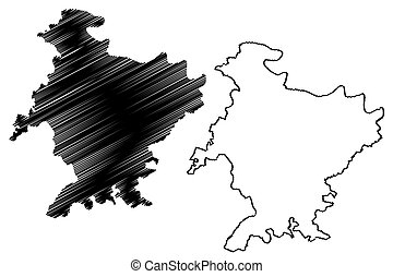 mapa, bosquejo, distrito, (uttar, banda, india), república, estado, garabato, ilustración, pradesh, vector