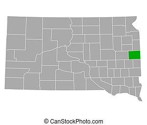 mapa, brookings, dakota, sur