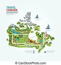 mapa canadá, concepto, infographic, tela, país, viaje, /, layout., forma, gráfico, vector, ilustración, plantilla, señal, diseño, navegante, o, design.
