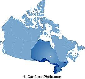 mapa canadá, ontario, provincia, -