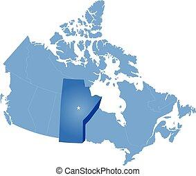mapa canadá, -, provincia, manitoba