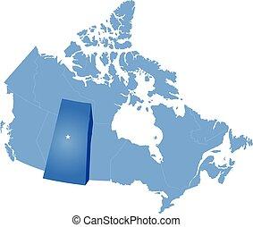 mapa canadá, -, provincia, saskatchewan