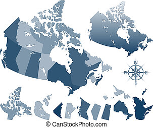 mapa canadá, provincias