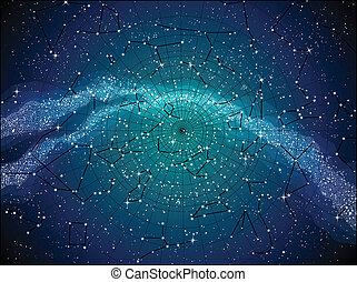 mapa, cielo, constellasions