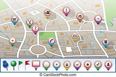 mapa ciudad, vector, gps, iconos
