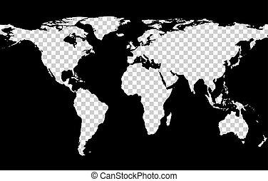 Mapa con imitación de continentes transparentes