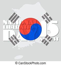 mapa, corea, nacional, ilustración, liberación, día, vector, sur