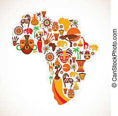 Mapa de África con iconos vectores