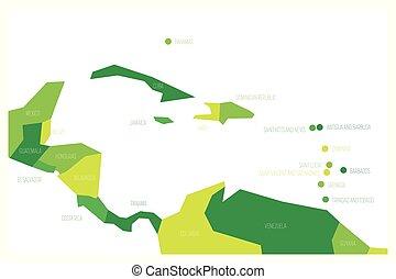 Mapa de América Central y Caribe. Mapa vectorial vectorial simulado en tonos de verde
